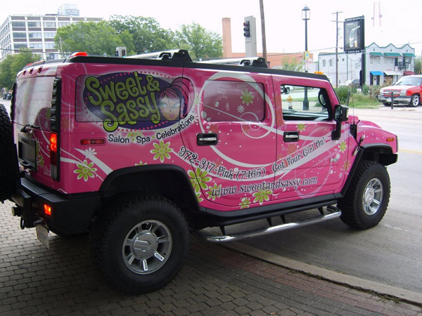 Vinyl graphics hummer wraps installed on H2 for Sweet And Sassy