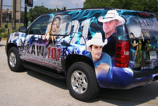 Vehicle wraps installed on a Tahoe for Gap Broadcasting