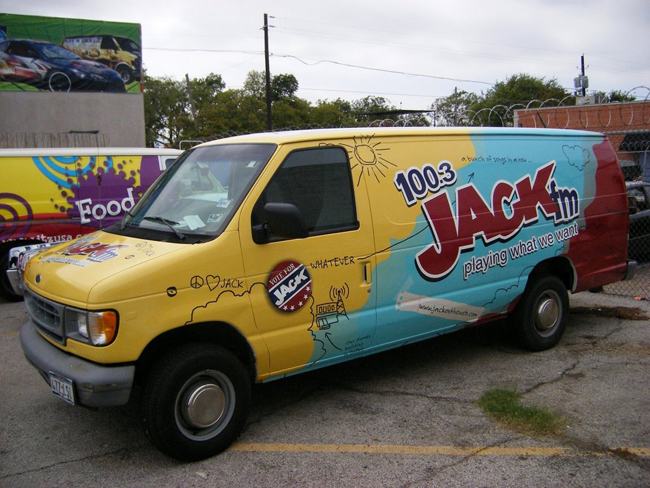 Vinyl graphics van wraps installed for Jack FM in Dallas