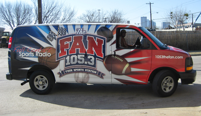 Vinyl van wraps for 105.3 The Fan in Dallas TX
