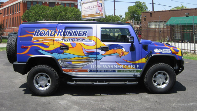 Full vehicle wraps of H2 for Time Warner Cable in Dallas TX